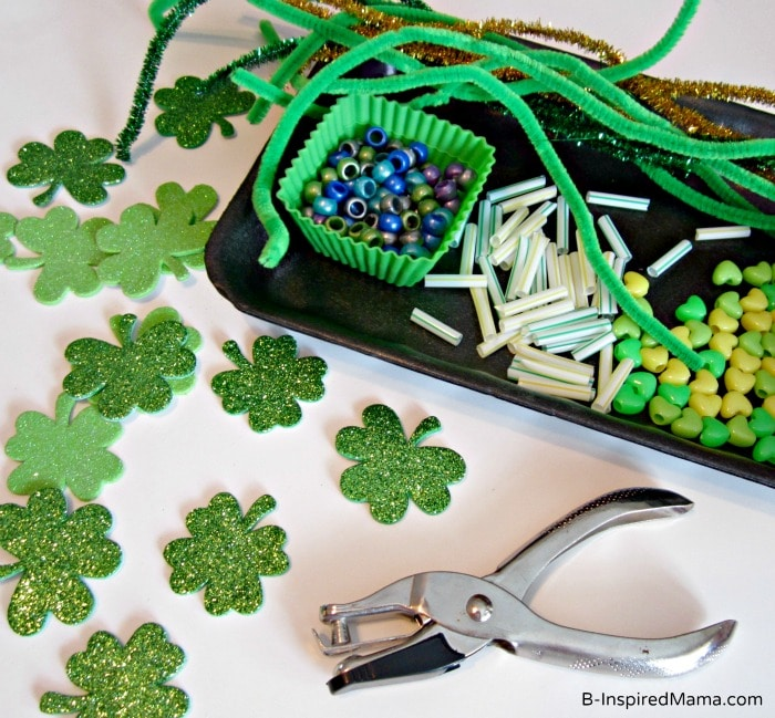 Kids St. Patrick Craft Crown Supplies at B-InspiredMama.com