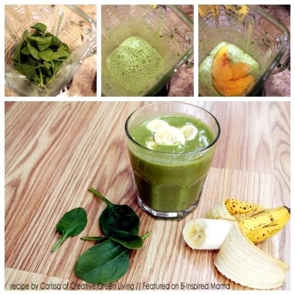 Lucky Leprechaun Green Smoothie Recipe Steps from Creative Green Living and B-InspiredMama.com