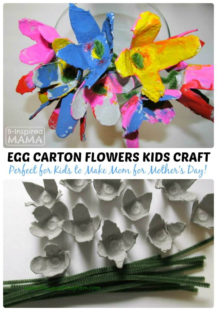 Spring flower egg carton craft for kids Egg carton flowers ideas