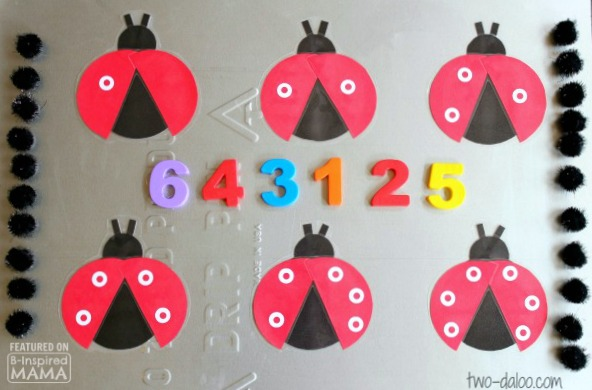 Adorable DIY Magnetic Ladybug Counting Game - with Pom-Pom Spots - Perfect for Preschoolers - at B-Inspired Mama