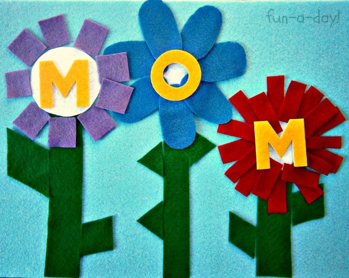 Felt Shape Flowers for MOM from Fun-A-Day! at B-InspiredMama.com