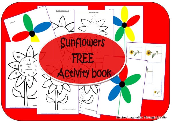 Kids Sunflowers Activities Book from Inspire Imagination through Creation at B-Inspired.comMama