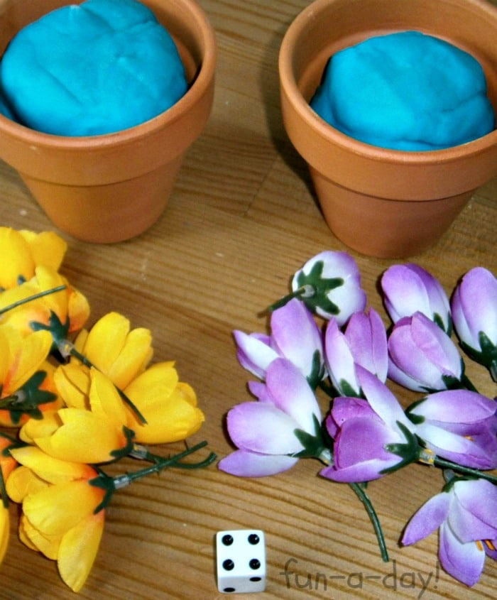 Getting Started Playing a Flower Math Game from Fun-A-Day! at B-InspiredMama.com