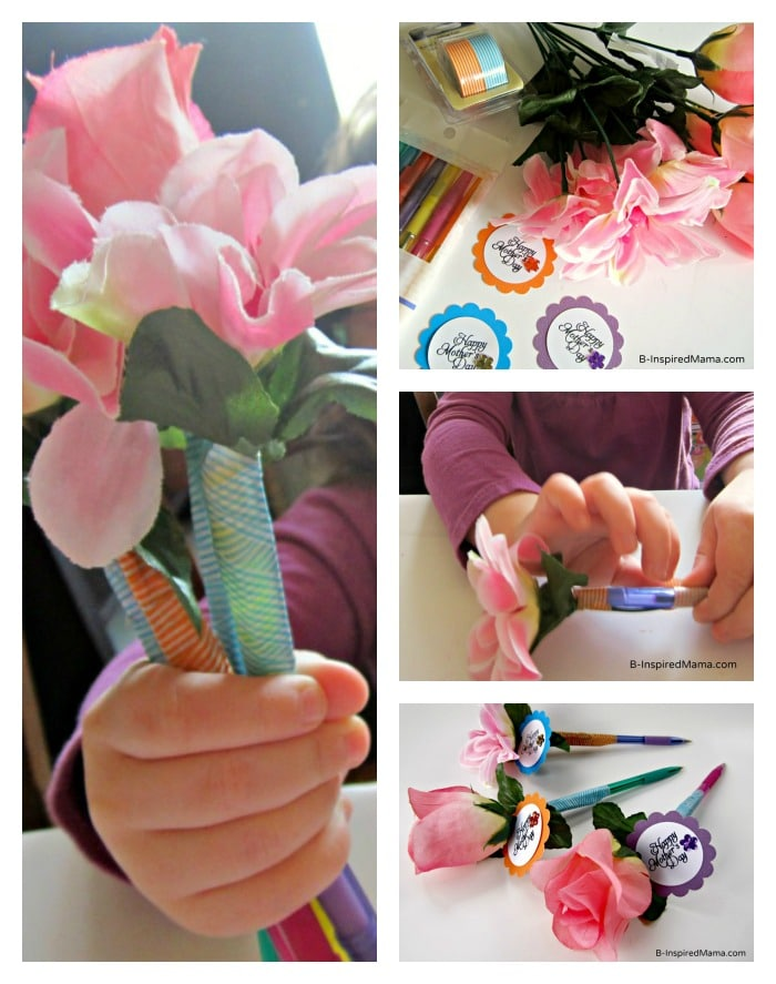 Steps to Make a Flower Pen at B-InspiredMama.com