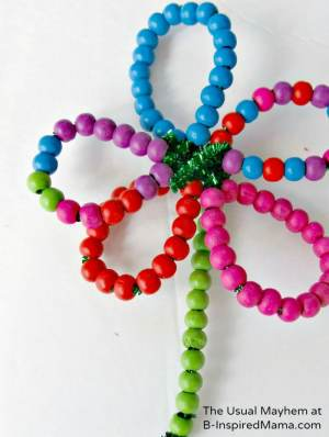 Fine Motor Skill Beaded Flower Fun from The Usual Mayhem at B-InspiredMama.com