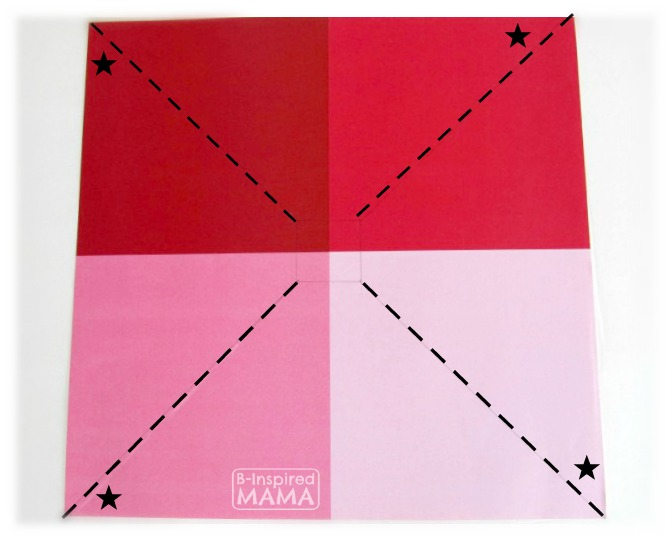 Make a Pinwheel - To Impress Your Kids - Which Corners to Bring in to the Middle - at B-Inspired Mama
