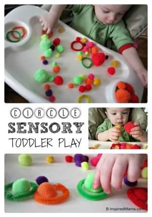 Simple Toddler Sensory Play Exploring Circles at B-InspiredMama.com