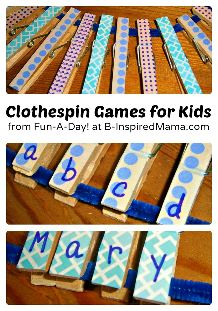 DIY Clothespin Games for Learning from Fun-A-Day at B-InspiredMama.com