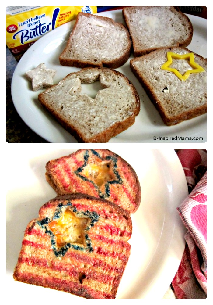 Make Patriotic Grilled Cheese Sandwiches for Kids Using Unilever Buttery Spreads at B-InpsiredMama.com