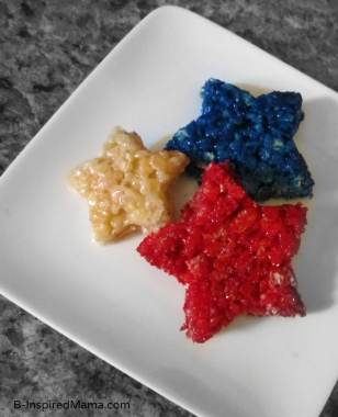 Patriotic Rice Krispie Treat Stars with I Can't Believe It's Not Butter at B-InspiredMama.com