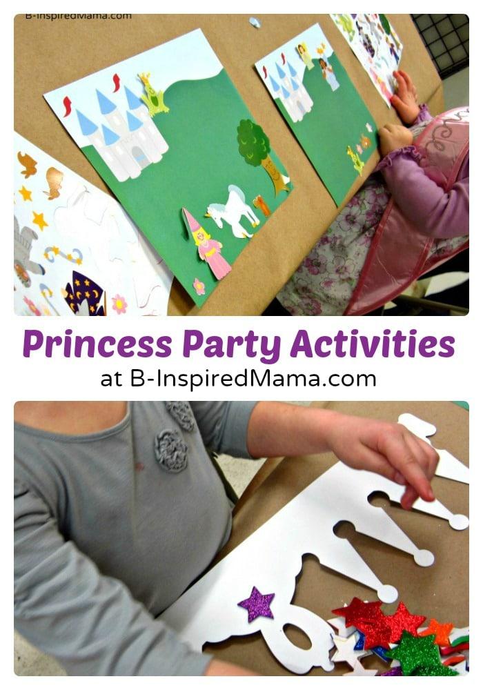 Crafts and Activities at Priscilla's Happy Birthday Princess Party at B-InspiredMama.com