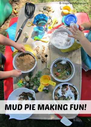Kids Mud Pie Making Messy Playdate at B-Inspired Mama