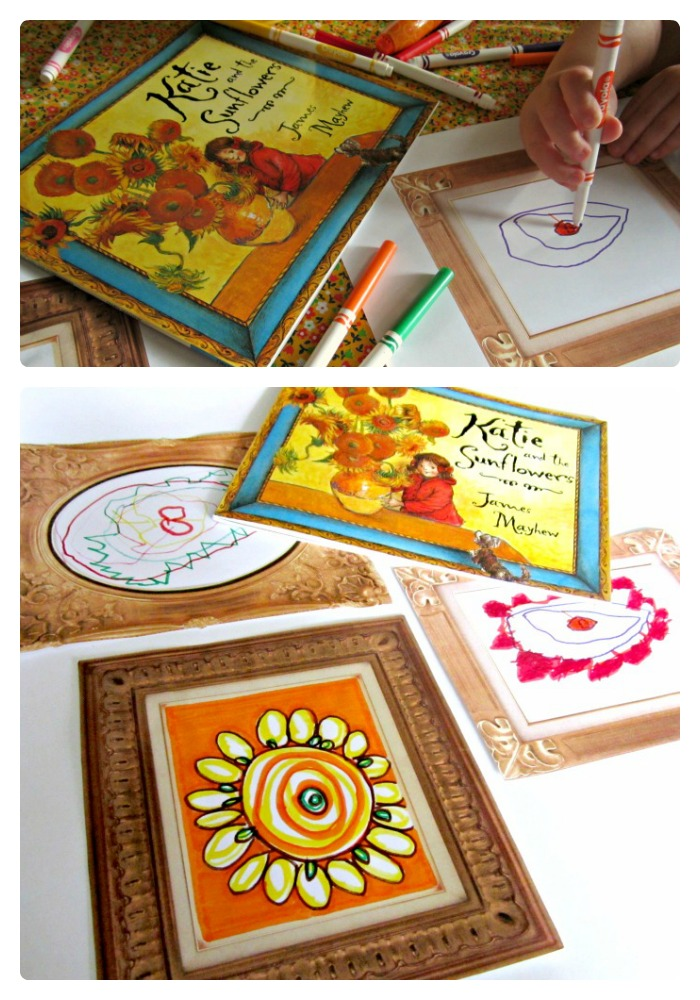 Printable Frames for Making a Kids Art Gallery Inspired by Katie and the Sunflowers Book at B-InspiredMama.com