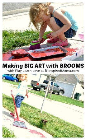 Making Messy Big Art with Broom Painting at B-Inspired Mama