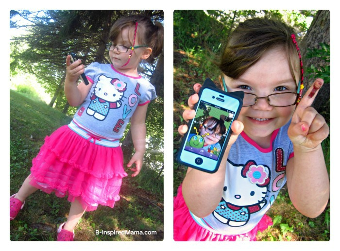 Priscilla Enjoying Her School Clothes with her Kukee App at B-InspiredMama.com