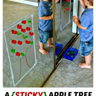 A {STICKY} Apple Tree Activity Perfect for Preschool Kids