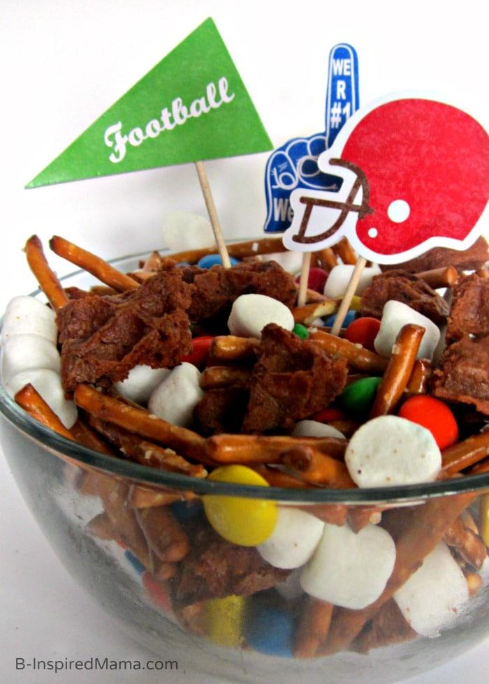 A Fun Football Party Mix Recipe with Eggo Waffles at B-Inspired Mama