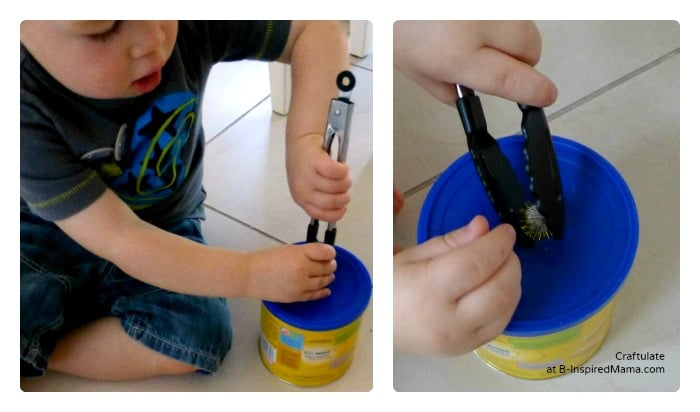Practicing Fine Motor Skills with a Tongs and Pom Pom Toddler Activity at B-Inspired Mama