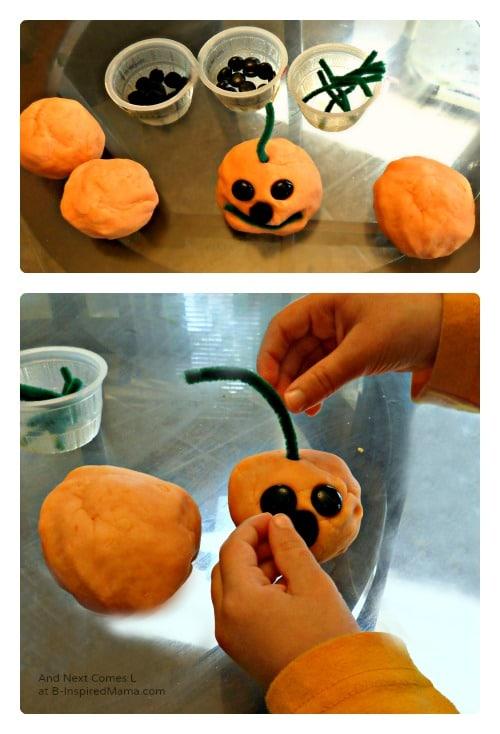 A Kids Play Dough Jack-O-Lantern Halloween Activity at B-Inspired Mama