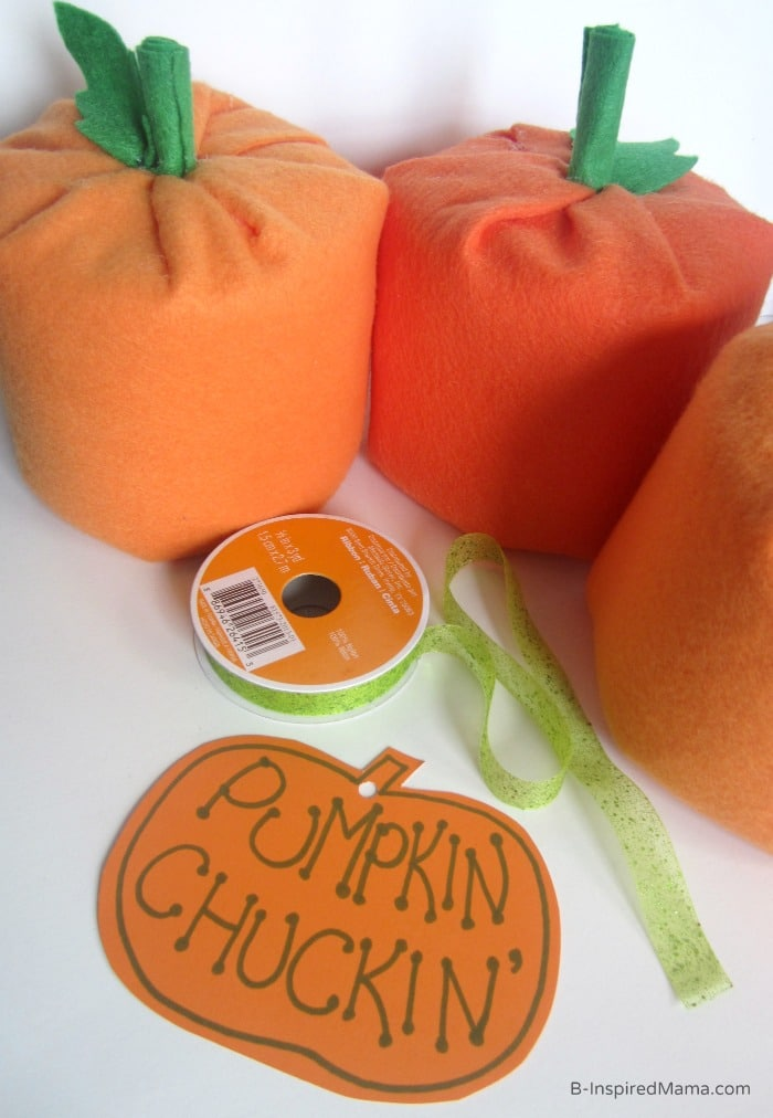 Making the Tag for the Pumpkin Chuckin' Halloween Game - Sponsored by #CottonelleTarget at B-Inspired Mama