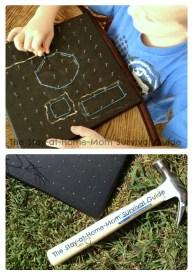 Make a Chalkboard Geoboard for Some Kids Math Fun at B-Inspired Mama