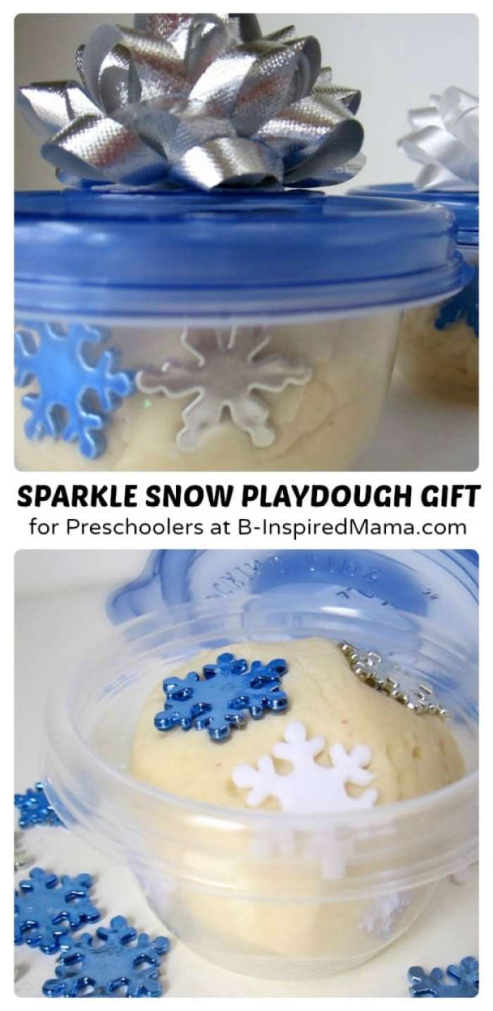 Sparkle Snow Homemade Playdough Gift for Preschoolers at B-Inspired Mama