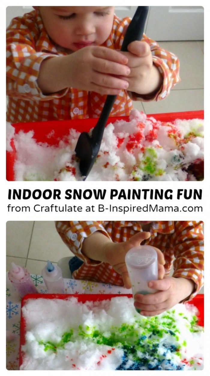 Indoor Snow Painting Fun with Craftulate at B-Inspired Mama
