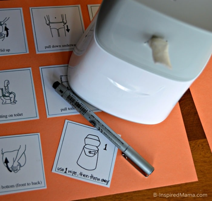 Making Picture Cards for a Visual Schedule for Kids Bathroom Habits - #sponsored #CtnlCareRoutine #PMedia - B-Inspired Mama