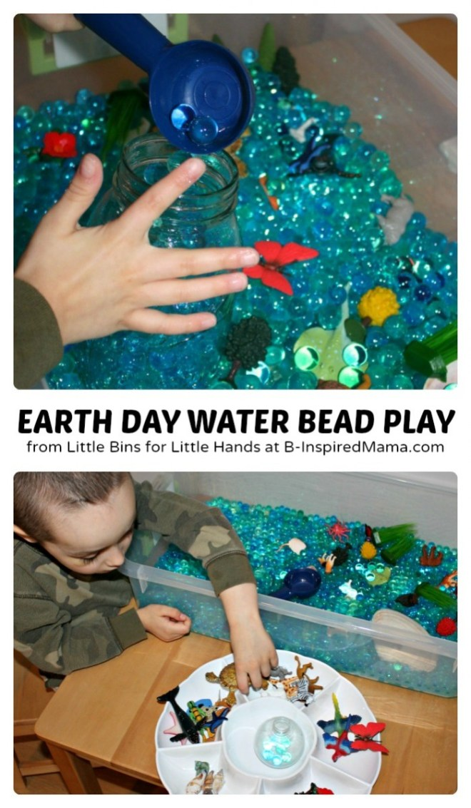 Sensory Earth Day Activities for Kids using Water Beads at B-Inspired Mama