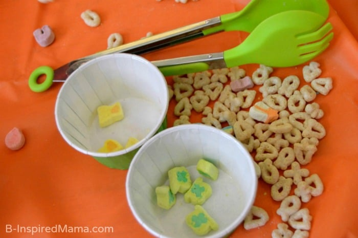 Sorting with Cereal During our Sensory Play at B-Inspired Mama