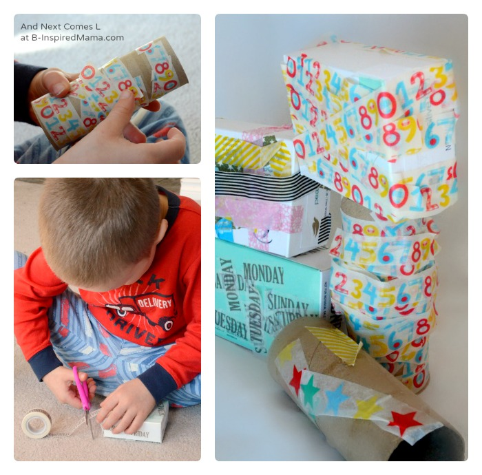 Kids Made DIY Toys - Building Blocks from Recyclables at B-Inspired Mama