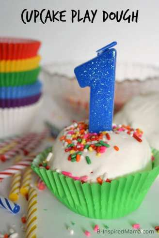 Cupcake Play Dough Recipe Perfect for First Birthday Fun at B-Inspired Mama #GeorgeTurns1