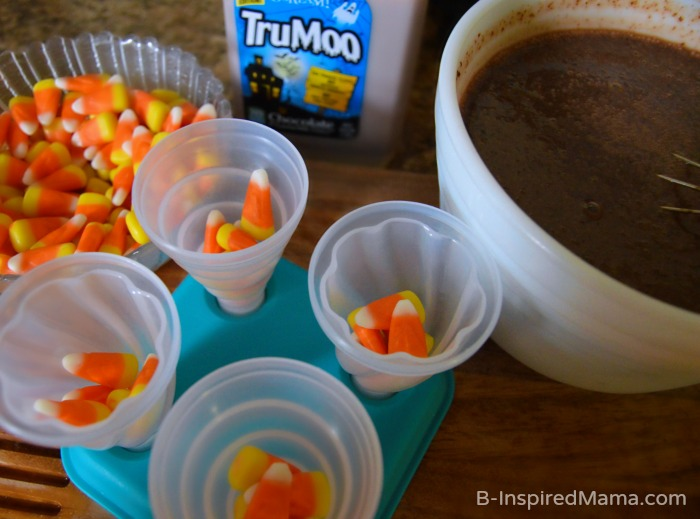 Making Our Double Chocolate Candy Corn Pudding Pops Recipe - [#Sponsored #TruMooTreats] at B-Inspired Mama