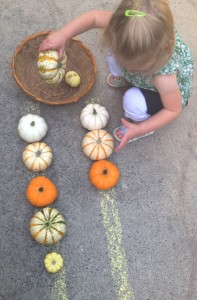 Simple Math with Mini Pumpkins - 16+ Pumpkin Theme Early Learning Ideas + The Weekly Kids Co-Op Link Party at B-Inspired Mama