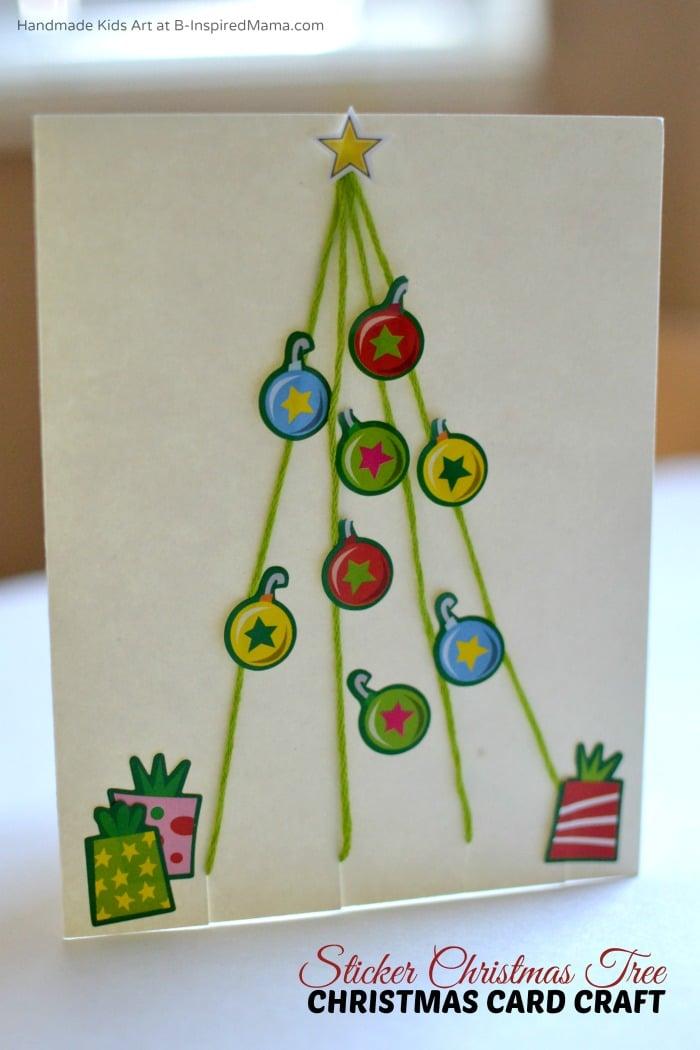 simple sticker christmas tree homemade christmas card craft for kids at b inspired mama - Christmas Card Tree
