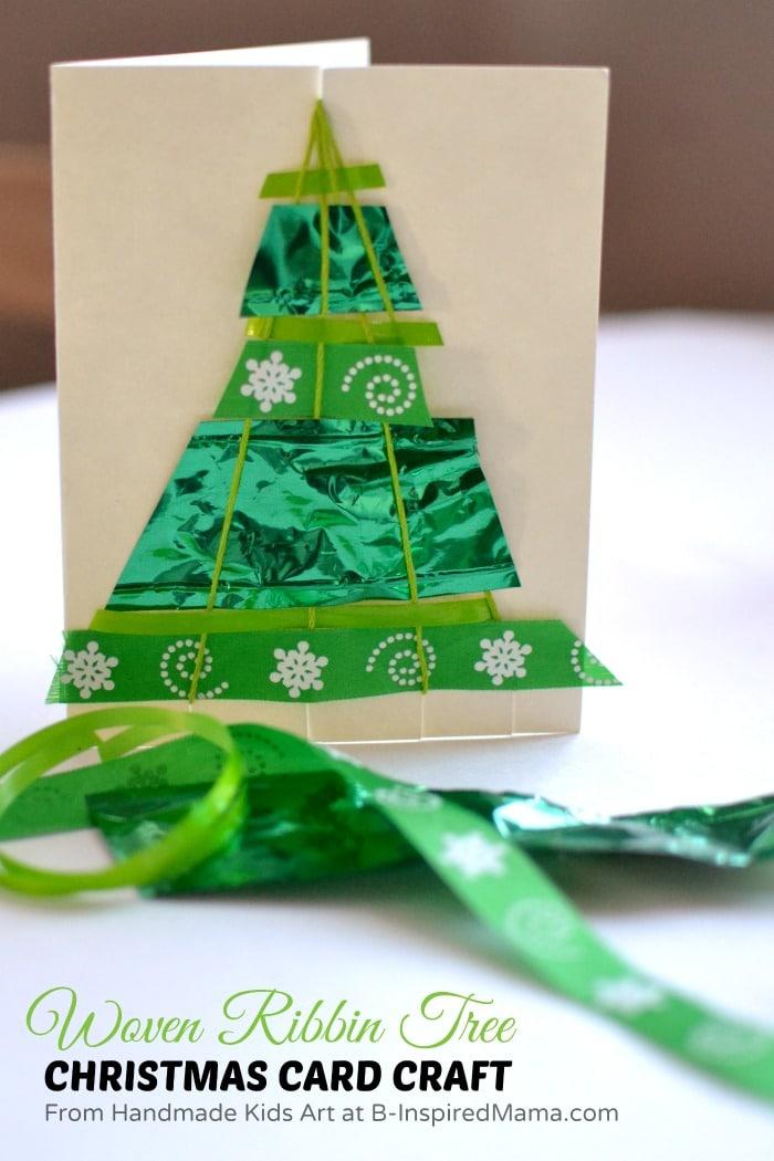 a ribbon woven tree homemade christmas card craft - Christmas Card Tree