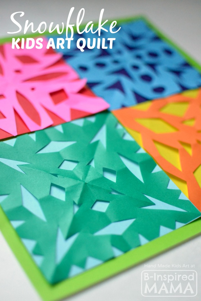 Colorful Kids Art Quilt with Paper Snowflakes - B-Inspired Mama