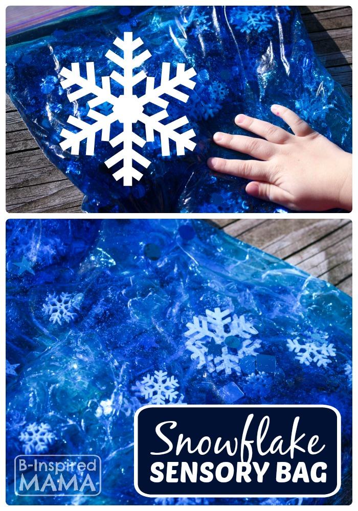 Snowflake Sensory Bag for No-Mess Sensory Play at B-Inspired Mama