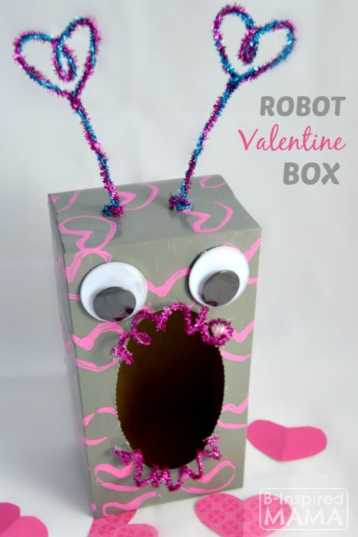How to Make a Valentine Box Robot - Sponsored by #PlaidCrafts, #ModPodge, and #AppleBarrel - B-Inspired Mama