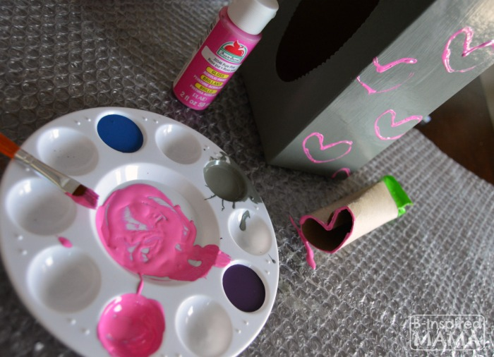 How to Make a Valentine Box Robot - Stamping Hearts - B-Inspired Mama