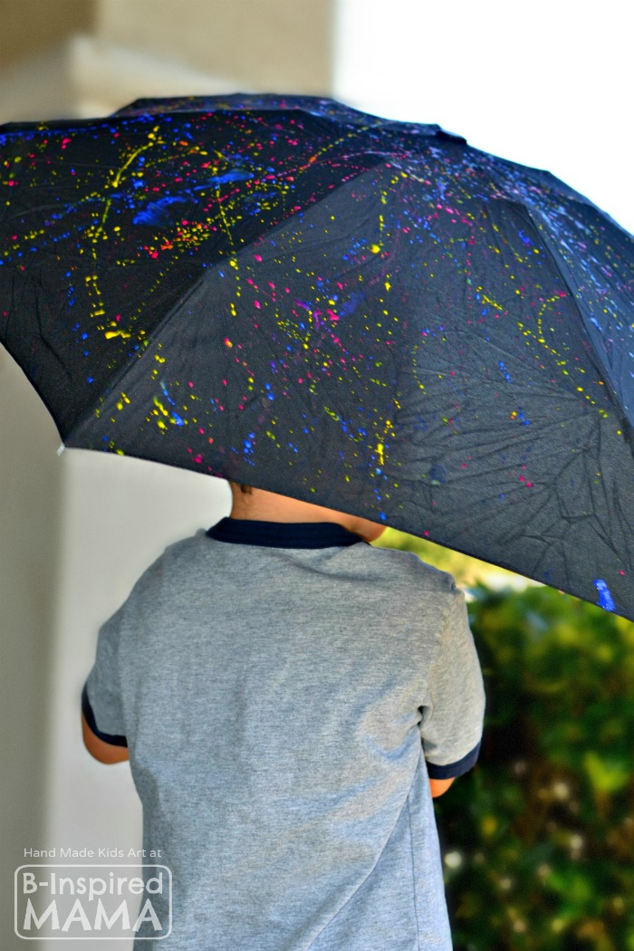 Jackson Pollock Inspired Action-Painted Umbrella Kids Art Activity - Perfect for Spring - at B-Inspired Mama