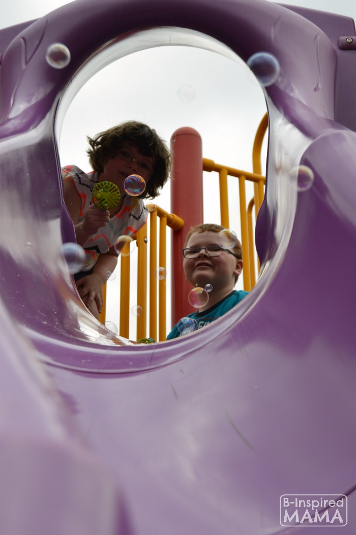 Bubbles through the Slide + More Playground Playdate Ideas for the Playground with Gymboree and B-Inspired Mama