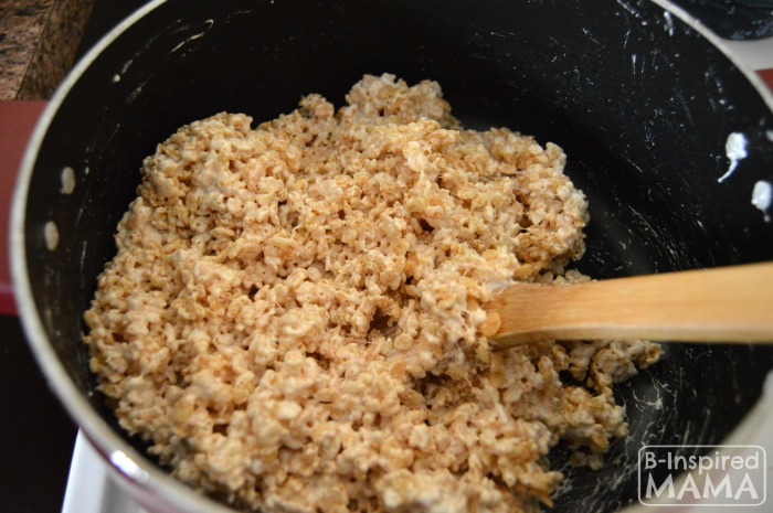 Mixing Up Our Spring Flower Pot Rice Krispies Treats at B-Inspired Mama
