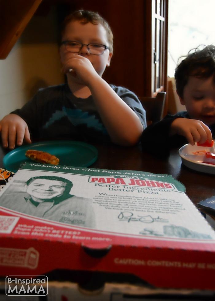 6 Family Home Evening Ideas Sawyer And Jc Enjoying Their Papa Johns At B