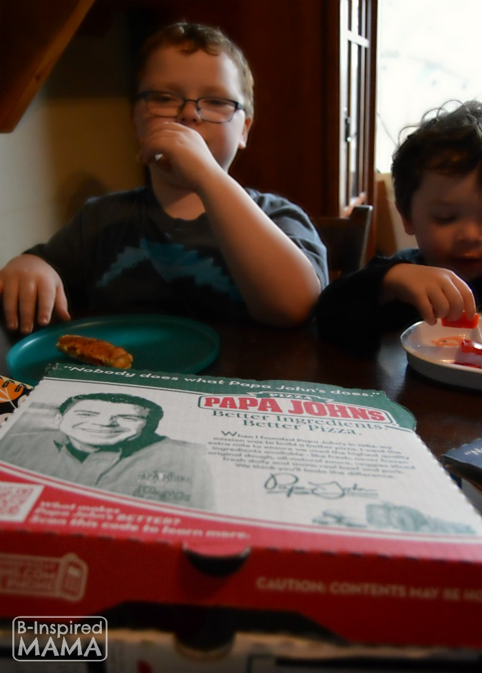 6 Family Home Evening Ideas- Sawyer and JC enjoying their Papa Johns at B-Inspired Mama