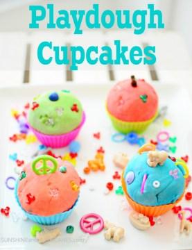 Playdough Cupcakes Sensory Play