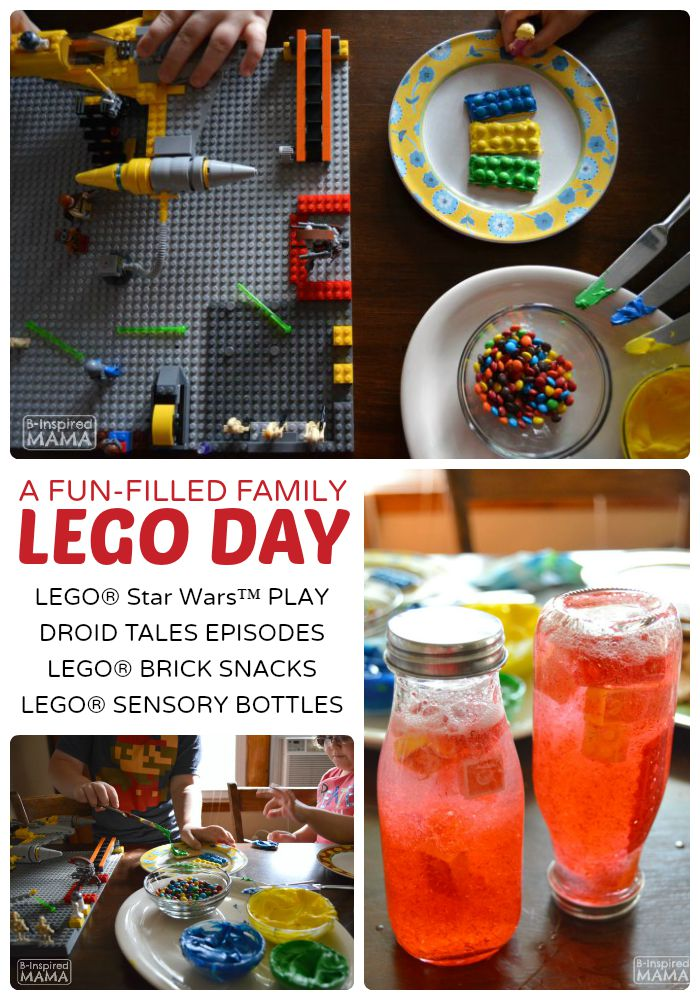 A LEGO Day with LEGO Brick Snacks and Sensory Bottles