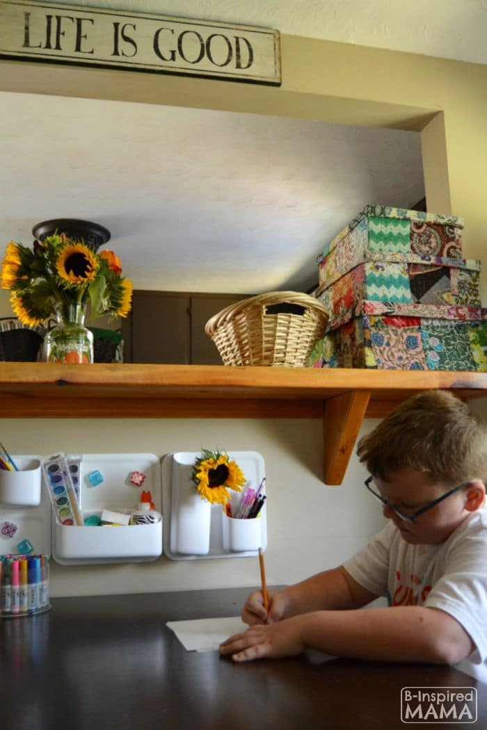 Small Home Homework Zone - Sawyer Working in the Homework Zone - B-Inspired Mama