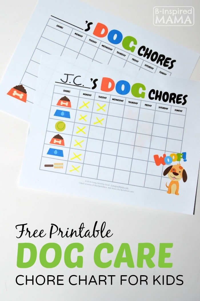 Free Printable Dog Care Chore Chart for Kids at B-Inspired Mama