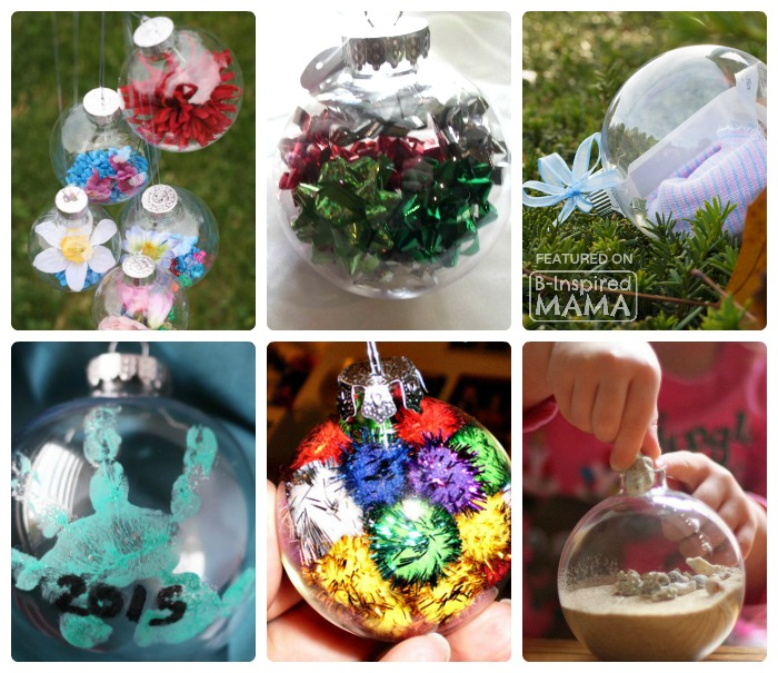 21 Homemade Christmas Ornaments Using Clear Fillable Ball Ornaments - B-Inspired Mama